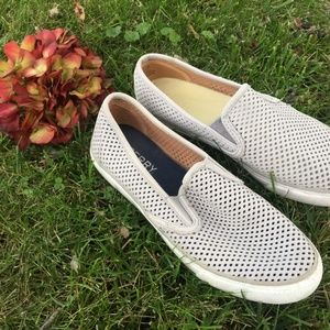Women's Sperry perforated leather slip ons shoes